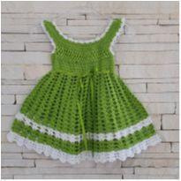 Vestido feito peça vovó - 0 a 3 meses - Feito à mão