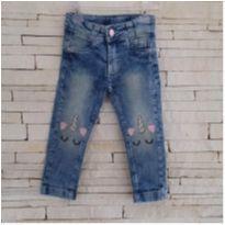 Calça jeans unicórnio Tam. 1 menina - 1 ano - Bob Bandeira