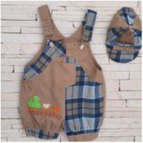 Macacão + boné Tam. 6-9 meses menino - 6 a 9 meses - etiqueta foi cortada