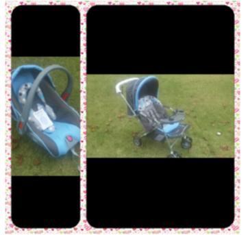 Carrinho de bebê Cosco e Bebê Conforto Azul e Cinza - Sem faixa etaria - Cosco