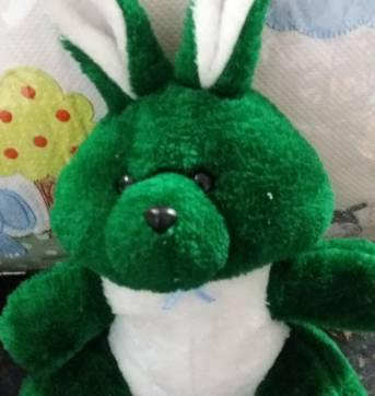 Coelho de Pelúcia Verde e Branco - Sem faixa etaria - Não informada