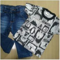 Conjunto Calça Jeans e Camiseta - 18 a 24 meses - Momentus