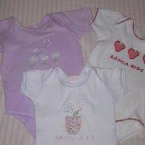 Kit de bodys em algodão bordados - 3 a 6 meses - basica kids