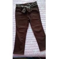 Calça marrom EPK com faixa de oncinha - 24 a 36 meses - EPK