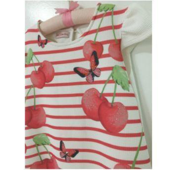 Vestido cerejas - 8 anos - Nini e Bambini