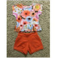 Conjunto laranja floral - 4 anos - Marisol