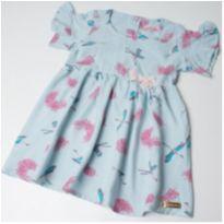Vestido azul  pássaros - 9 a 12 meses - Pokotinha