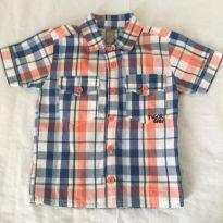Camisa Curta Xadrez - 12 a 18 meses - Tigor T.  Tigre