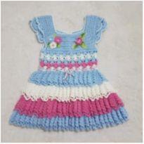 Vestido crochê artesanal camadas - 3 anos - Artesanal