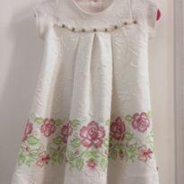 Vestido branco com pérolas - 6 meses - Kiki Xodó