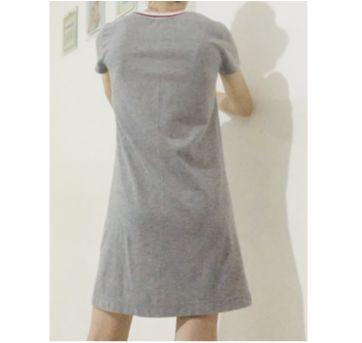 vestido curto cinza gola bicolor - dress to - 14 anos - DRESS TO