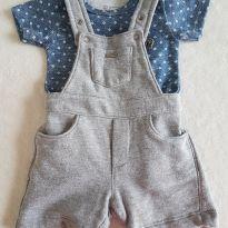 Conjunto de jardineira de moletom  + body - Grow up - 0 a 3 meses - Grow up e GROW UP BABY