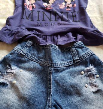 Mini look com shorts jeans - 3 anos - Disney