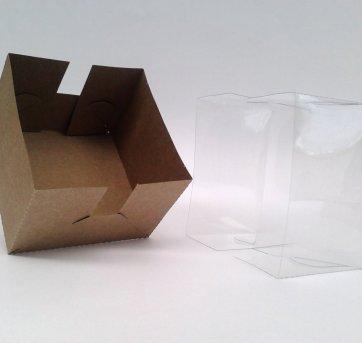 100 Caixas caixinha Papel Kraft com Tampa de Acetato Plastico PVC - Sem faixa etaria - Não informada
