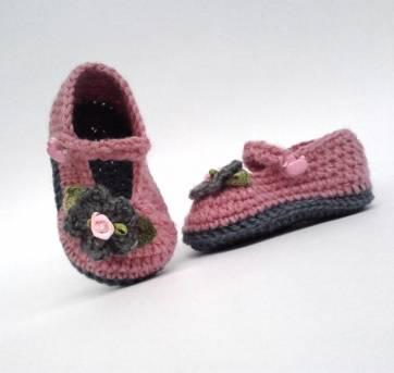 A970 Sapatinho lã 12 cm menina feminino rosa escuro flor cinza pingente patinho - 18 - mm sapatinhos