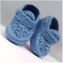 A86 Sapatinho de croche azul de menino - 15 - mm sapatinhos