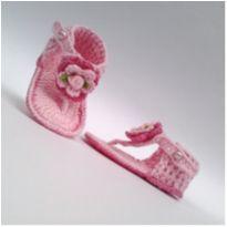 A342 Sapatinho sandalia de croche para bebe feminina rosa bebe com perola - 15 - mm sapatinhos
