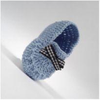 A427 Sapatinho de croche para bebe masculino azul bebe com lacinho xadrez menino - 16 - mm sapatinhos