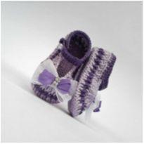 A404 Sapatinho de croche para bebe feminino lilas lacinho e strass prata menina - 13 - mm sapatinhos