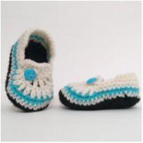 A929 Sapatinho de la bebe trico masculino 8 cm creme azul e preto - 15 - mm sapatinhos