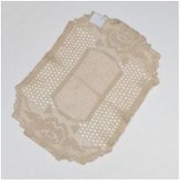 V11 Toalhinha de croche bege claro 35 x 25 com desenho de rosas -  - mm sapatinhos