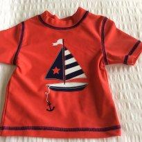 Camiseta com proteção solar barco - 6 a 9 meses - Little Me