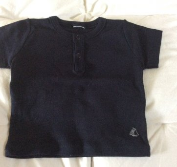 Camiseta Petit Bateau marinho - 3 meses - Petit Bateau