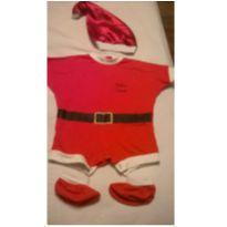 Fantasia infantil baby noel com gorro e pantufa - 3 a 6 meses - semmarca