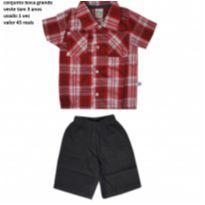 Lindo conjunto com camisa xadrez e short Boca Grande tam 3/4 anos - 4 anos - Boca Grande