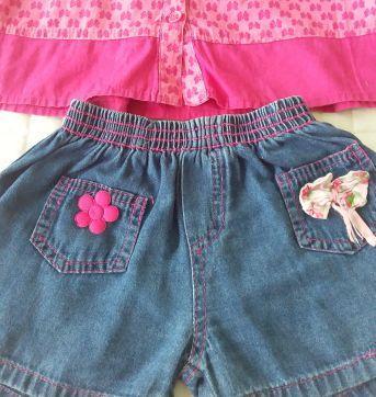CONJUNTINHO LACINHO - BLUSINHA TAM: 4 ANOS - SHORTINHO TAM: 3 ANOS - 3 anos - Pool Kids e Burile jeans
