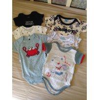Kit 6 bodies manga curta - 3 a 6 meses - Diversas