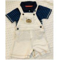 Macacão Carter's marfim urso com camisa listrada - 1 ano - Carter`s