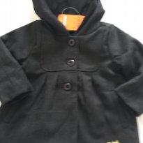 casaco de lã batida preto com capuz marisol - 3 a 6 meses - Marisol