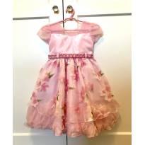 Vestido de Festa Rosa com Flores - 2 anos - Menina Bonita