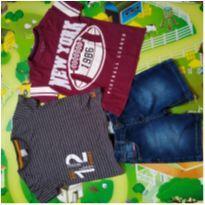 Kit 2 camisetas + 1 bermuda - 4 anos - C&A e Hering Kids