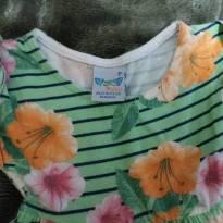 Vestidinho de malha verde com flores - 9 a 12 meses - Angerô