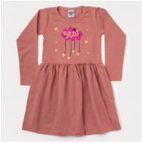 Vestido manga longa Salmão - 4 anos - PIMENTINHA KIDS