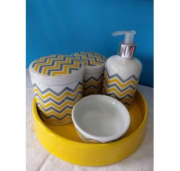 Kit higiene em porcelana - chevron amarelo e cinza - Sem faixa etaria - Não informada