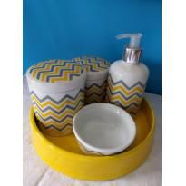 Kit higiene em porcelana - chevron amarelo e cinza -  - Não informada