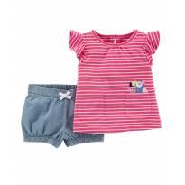 Conjunto Menina Tucano - Blusinha + Shorts - Carters - 18 meses - Carters - Sem etiqueta