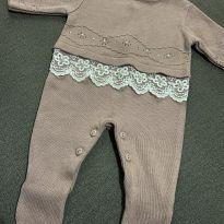 Saída Maternidade de tricô rosa - Recém Nascido - Não informada