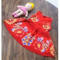 Vestido vermelho com flores bordadas - 2 anos - Cea, click house