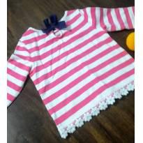 Blusa rosa marinheiro com laço azul marinho e barra bordada - 18 a 24 meses - Gymboree