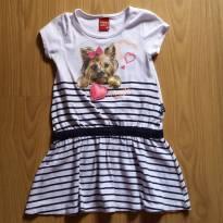 Vestido Kyly listradinho com estampa de cachorrinho - 3 anos - Kyly