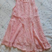 Vestido de renda rosa 5 - 4 anos - Não informada