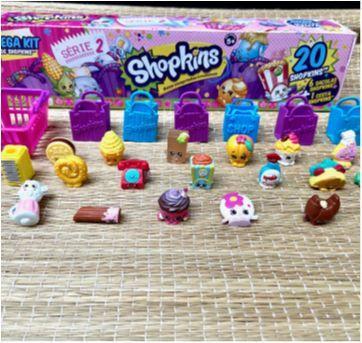 Kit Com 20 Shopkins Miniaturas  + cesta + sacolas - Sem faixa etaria - DTC