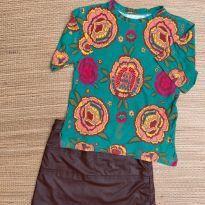 conjunto blusa fábula  e saia lilica - 10 anos - Fábula
