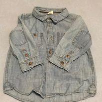 Camisa jeans manga longa H&M - 9 a 12 meses - H&M