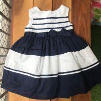 Vestido festa marinho e branco - 9 a 12 meses - Carter`s