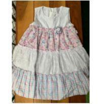 Vestido laise floral e xadrez - 2 anos - Anjos baby